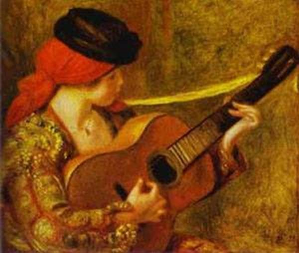 A woman playing on a guitar 1880 xx musee des beaux arts lyons